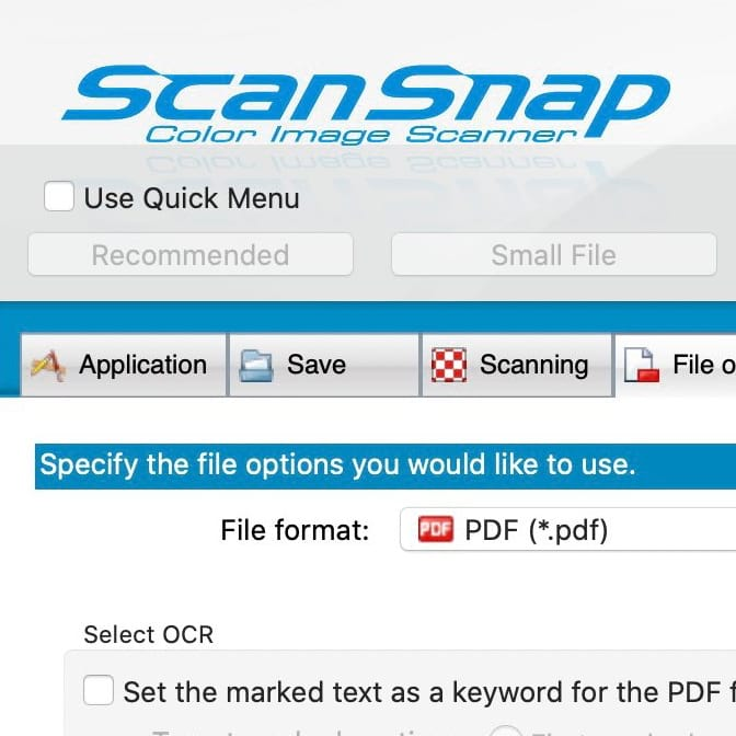 Ein Bildschirmfoto des ScanSnap Manager V7