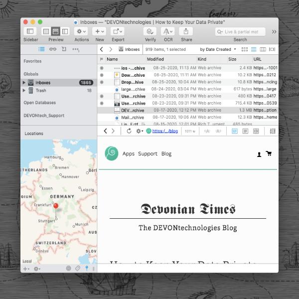 DEVONthink showing map filter pane.