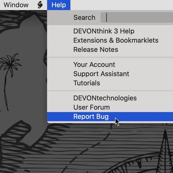 Bildschirmfoto des Hilfe-Menüs von DEVONthink