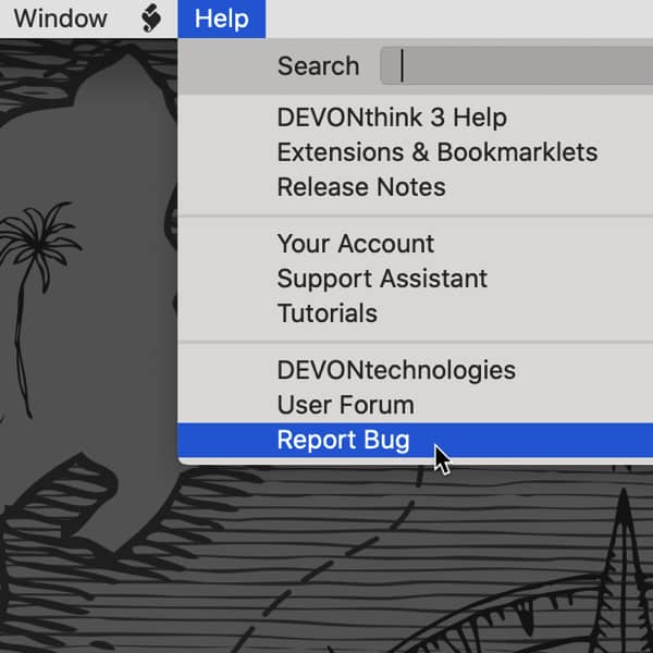 Screenshot showing the DEVONthink Help menu