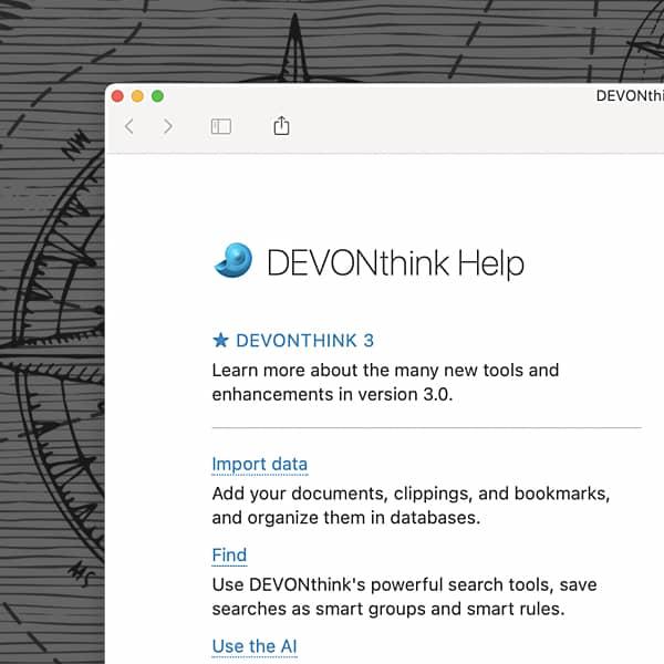 Screenshot of the DEVONthink help window