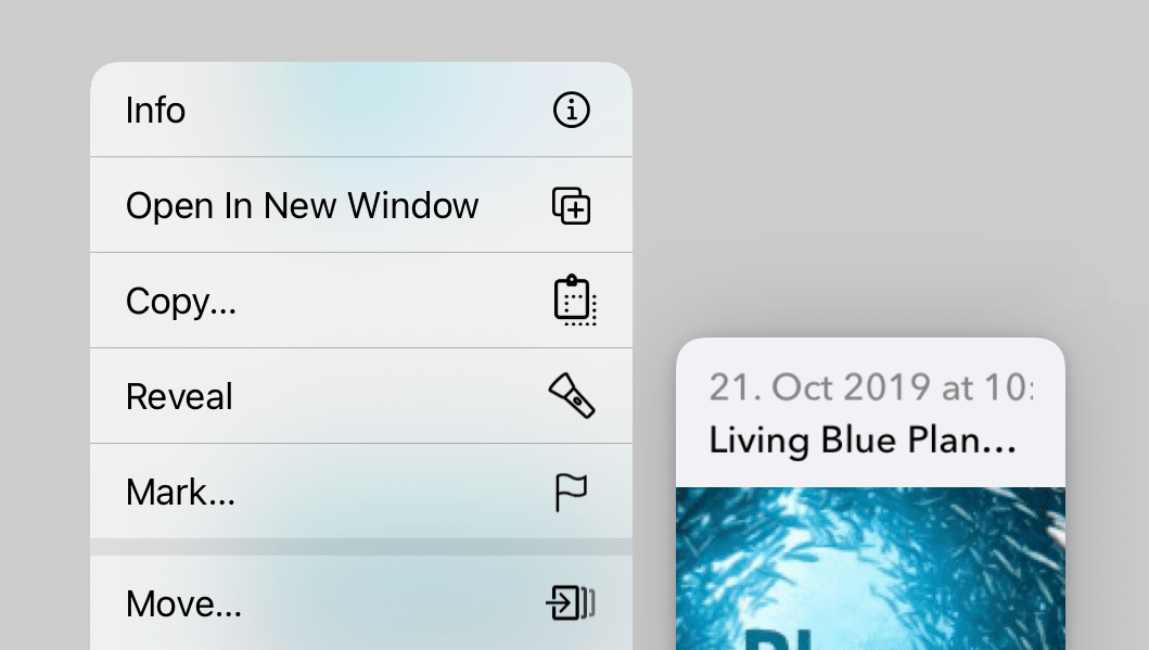 Screenshot of DEVONthink To Go with a grid of icons and an open context menu.
