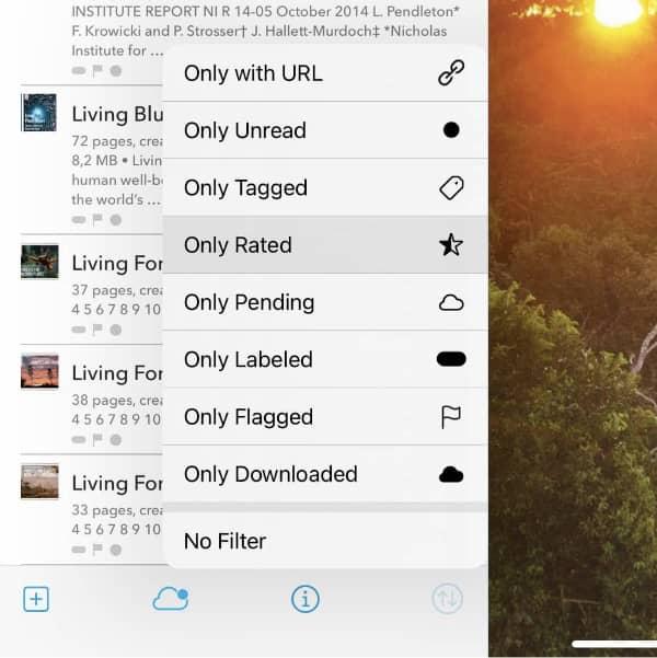 Screenshot showing DEVONthink To Go's view options menu.